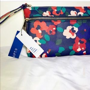Apt 9 Navy Blue Cluster Floral Zip up Wristlet